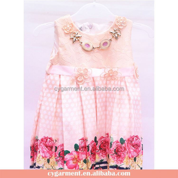 Hot Sale Pretty Kids Clothes Baby Girls Flower Dresses Princess Party Frock 2017 Summer