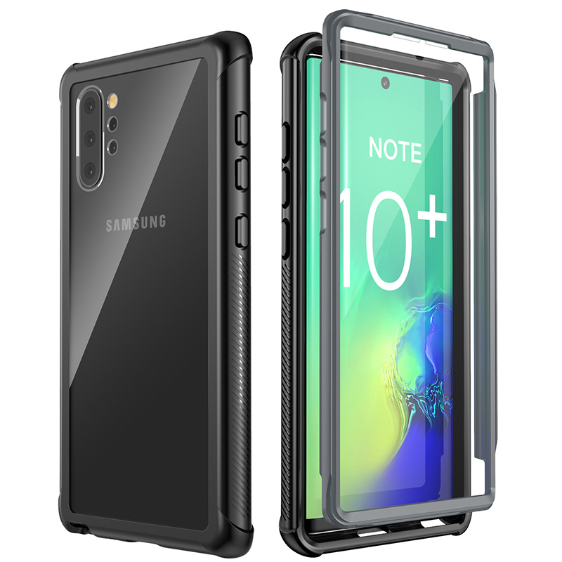 For Samsung Galaxy Note 10 Plus Clear Full-Body Rugged Heavy Duty Armor Case with Built-in Screen Protector&Fingerprint Function