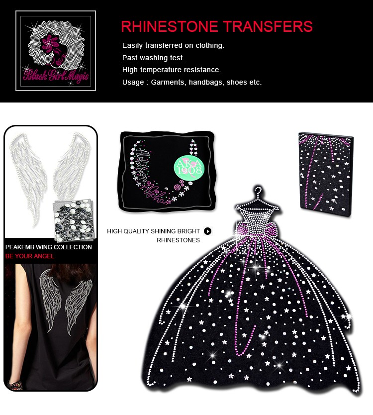 Stock Black Queen Hotfix Rhinestone Glitter Transfer for T-Shirts