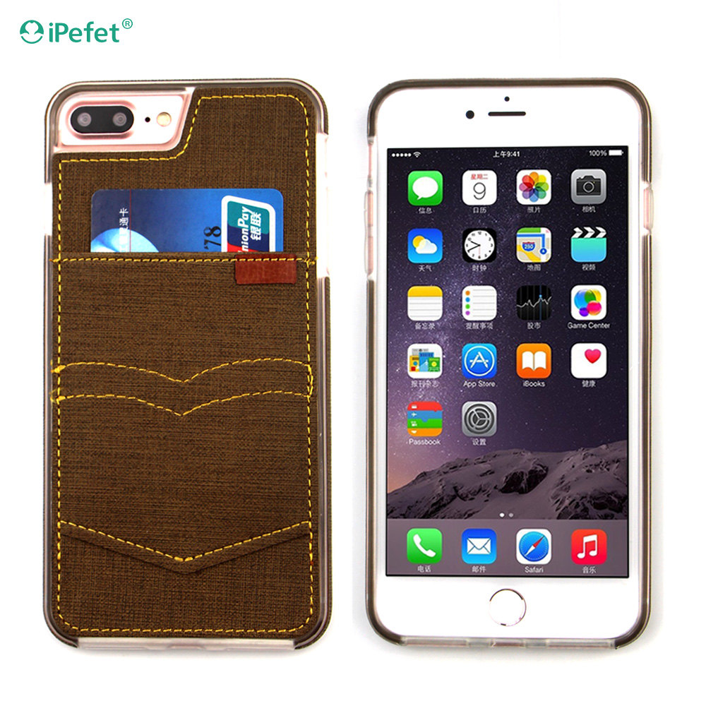 2016 Mobile Phone Canvas Fabric Back Cover For iPhone 7 Plus Wallet Leather Case