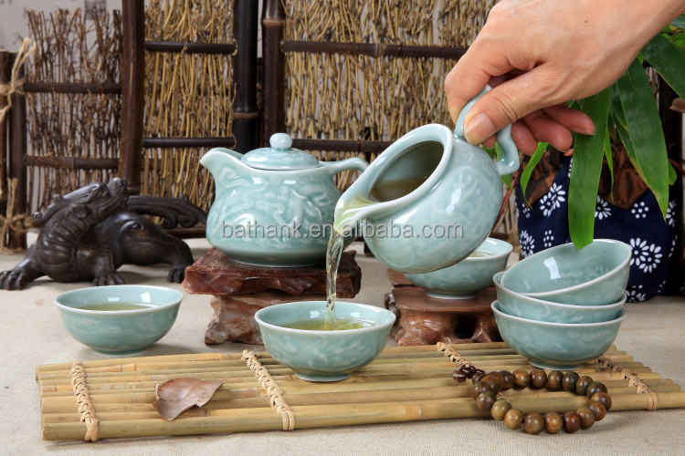 High quality porcelain Chinese Kongfu tea sets 8 in 1 embossed with dragon QFCB-33-2