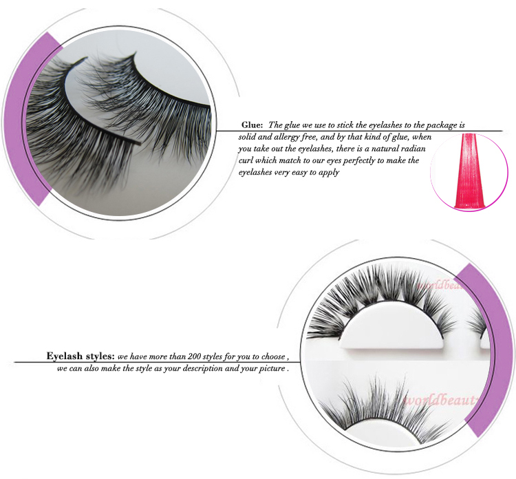 Worldbeauty customized style Luxury Mink Fur strip eyelash