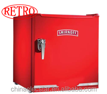 52L retro refrigerator with red color and handle