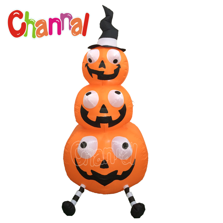 Three stacking halloween pumpkin inflatable halloween party light decoration