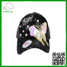 shining butterfly beautiful pearl jewelry decoration baseball cap