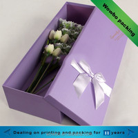 Purple cardboard tulip flower packing box with lid