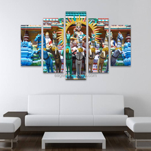 Art Print Hindu Gods 5 Panel Gourp Painting Picture