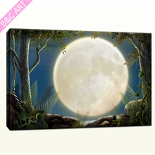 Polyester Fabric Stickers Hazy Bright Moon Home Decor Canvas Wall Art