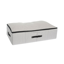 Dustproof foldable non-woven linen cardboard underbed storage box for shoes clothes quilt