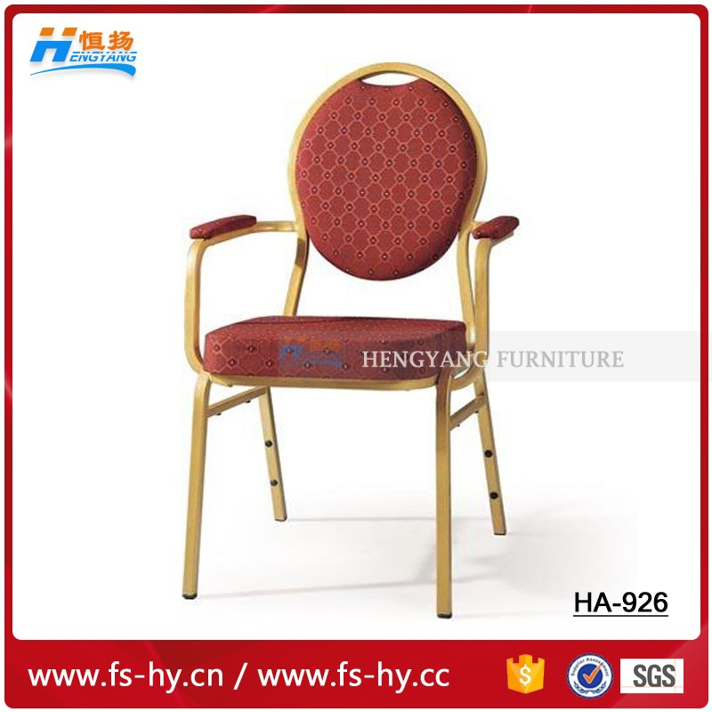 wholesale hotel chair stacking price steel banquet chair with armrest HC-926