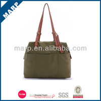 2014 simple leisure tote canvas bag with leather trim