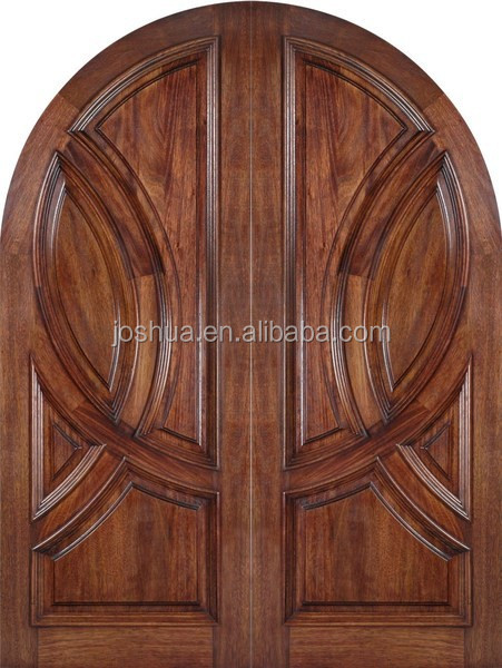 rounded top mahogany wood double entrance door