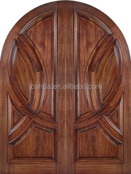 Rounded top mahogany wood double entrance door buy arch for Mahogany door skin