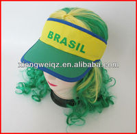 polyester baseball cap and hat with Brazil printed fans sun visor