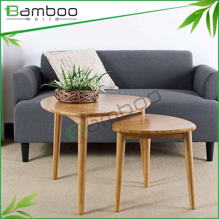 Water Base Painting Triangle Model Bamboo Coffee Simple Table