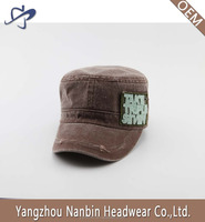High quality OEM fashion coating washed cotton military cap army hat with applique embroidery and metal buckle