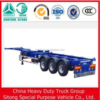 China New 3 axle 40 ft container used skeleton semi trailer for sale