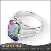 Women Elegant Multicolor Mystic Fire Topaz Zircon Gemstone 925 Sterling Cocktail Silver Ring