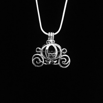 Princess Carriage pearl Bead pendant Cage- Hollow Silver Plated Bead Cage Pendant -