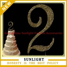 Personalised Number 2 Numeral diamante rhinestone Cake topper Pick anniversary wedding parties
