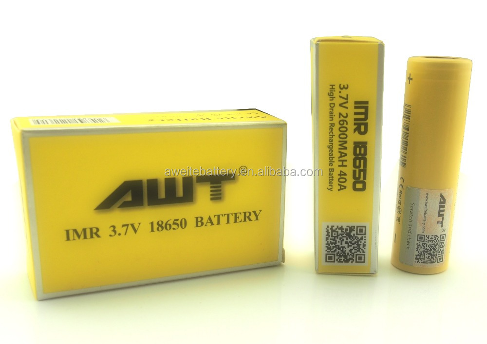 AWT 18650 battery 2600mAh 3.7V 40A e cig lithium battery for therion dna 200 250w mod vape