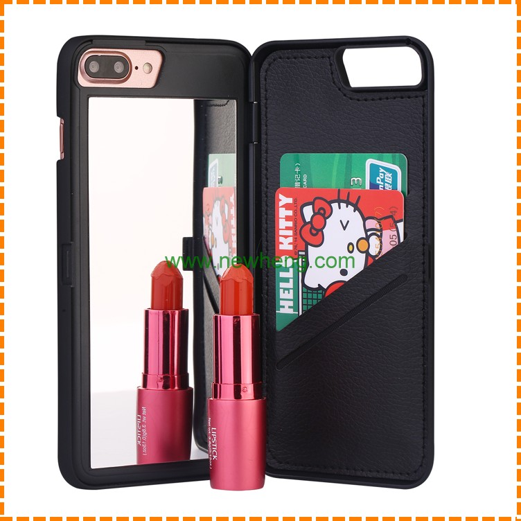 Lady Woman Make Up Mirror Case Card Slot Cover For iphone 7,7plus