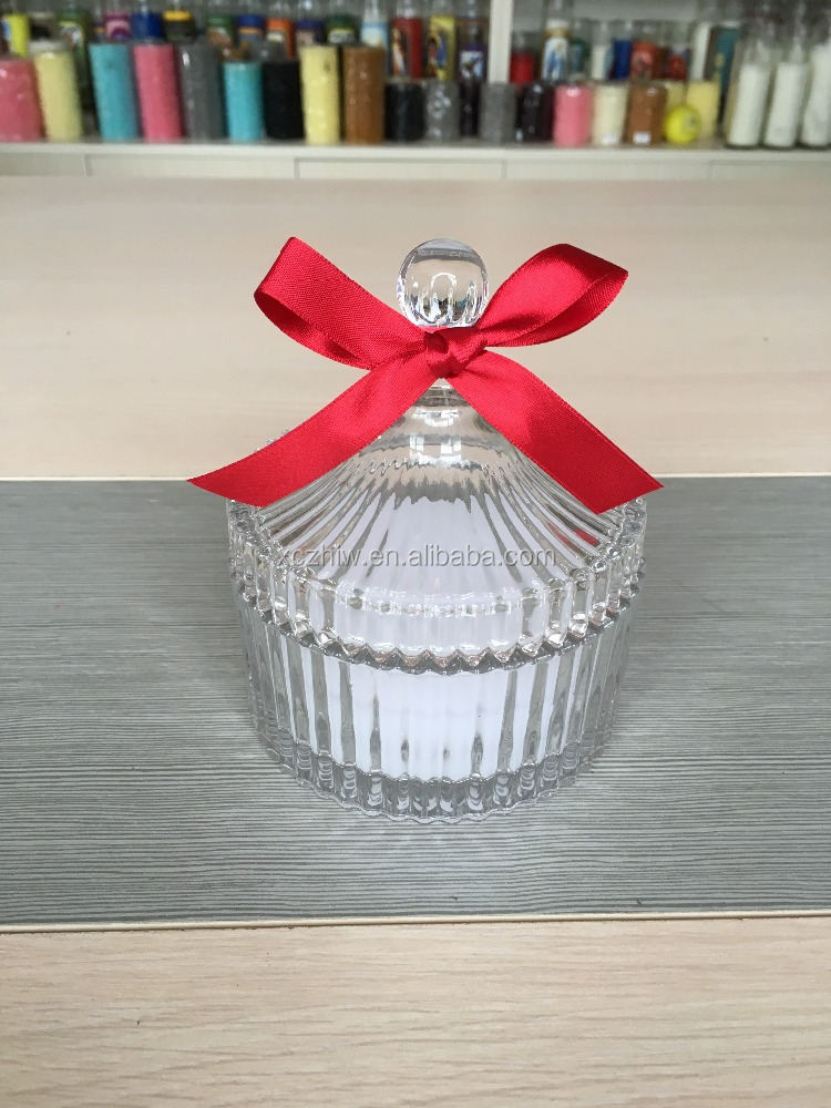 Ocean Perfumed Candle In Glass Jars With Ribbon, Scent Crystal Glass Candle
