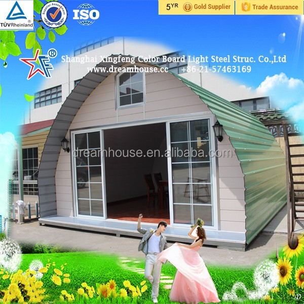 camping style light steel structural tiny house with arched roof/new style cheap arched cabin houses prefabricated tiny homes