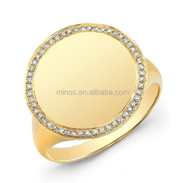 14KT Yellow Gold Diamond Solid Circle Ring