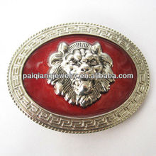 Decorative sterling silver lion head belt buckle
