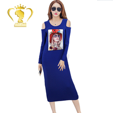 Support OEM & ODM 2017 new fashion pattern 3/4 sleeve woman long casual ladies off-shoulder dress