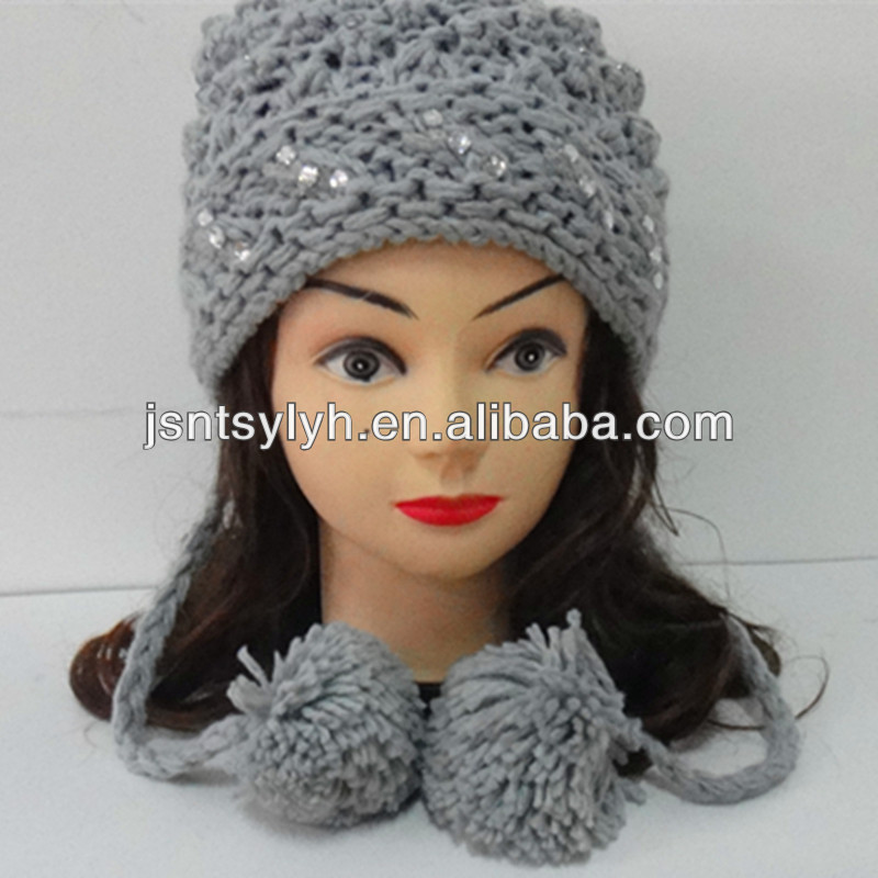 Knitting ladies earflap hats with sequins and pompom,manufacture