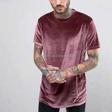 Manufacturer china men's clothing plain crew neck velvet men t shirts in bulk T-1632