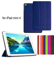 Luxury business design protective pu leather cover flip case for iPad Mini 4 three folding leather stand tablet case