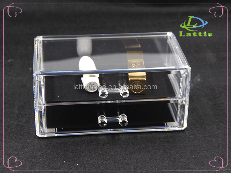 hot selling manufacturer 2 drawers acrylic cosmetic organizer