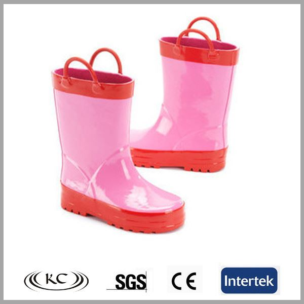 Pink rubber galoshes wellies toddler girl rain boots for kids
