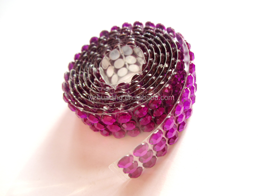 diameter6MM adhesive decoration purple crystal rhinestone mesh roll