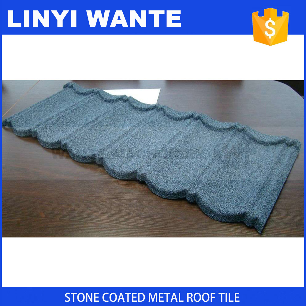China Linyi manufacture Ghana warehouse stone coated metal roofing tile