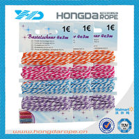 3 strand colored decorative cotton rope