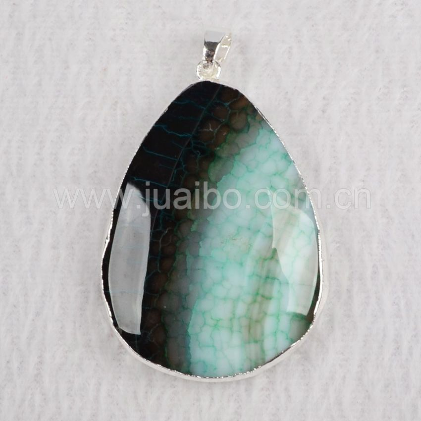 Wholesale unique jewelry silver plated water drop agate stone pendant