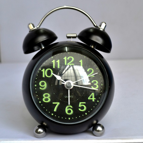 round shape table clock , metal twin-bell alarm clock with light