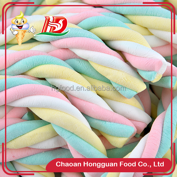 2016 New item twist colorful chewing marshmallow assorted fruit jelly candy