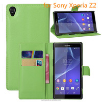 Free Sample Phone Case Lichee Stripe PU Leather Wallet Back Cover For Sony Xperia Z2