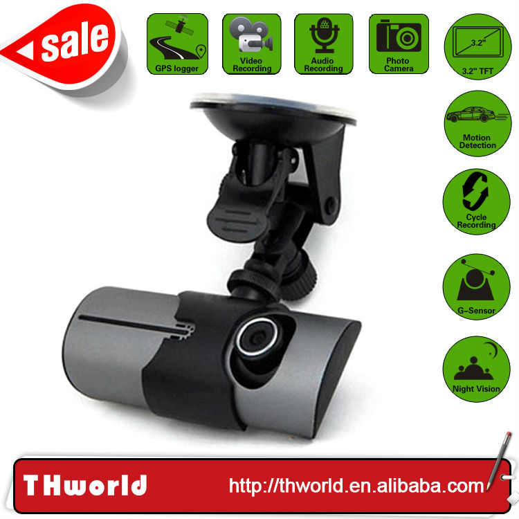 hot sale multi function car camera hd dvr with 3.2 inch lcd screen dual camera and gps logger