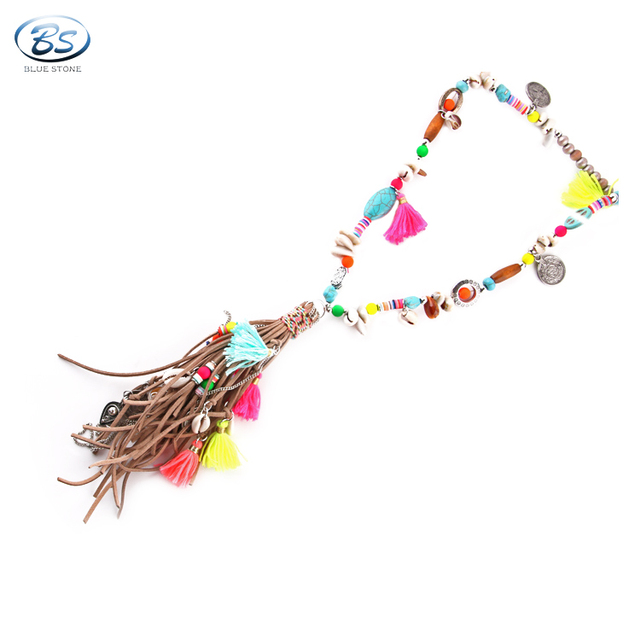 MBN048 charm lady party hawaii style long neon leather tassel sea shell necklace bohemia jewelry in stocks