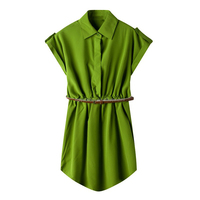 Ladies Chiffon Lapel Collar Dress Women Short Sleeve Blouse Female Dresses