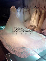 Clothing Manufacturers Fantastic Whole Body Romantic Flowers Long Tail Wedding Dresses/Handmade Lace Appliqued 2014 Dress