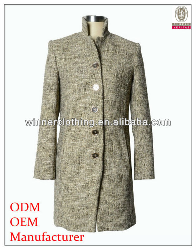 New Style High Collar Long Sleeve Unique Style Men Long Coat