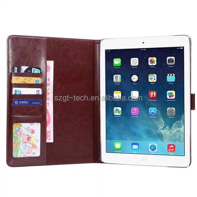 For iPad Air 2 Leather Crazy Horse Grain Cover Case with Stand Fold Card Holder Slots