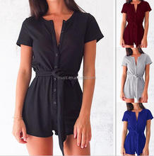 L1148A Short Sleeve Lace-up Summer Beach Jumpsuit Romper Sexy Womens Playsuit